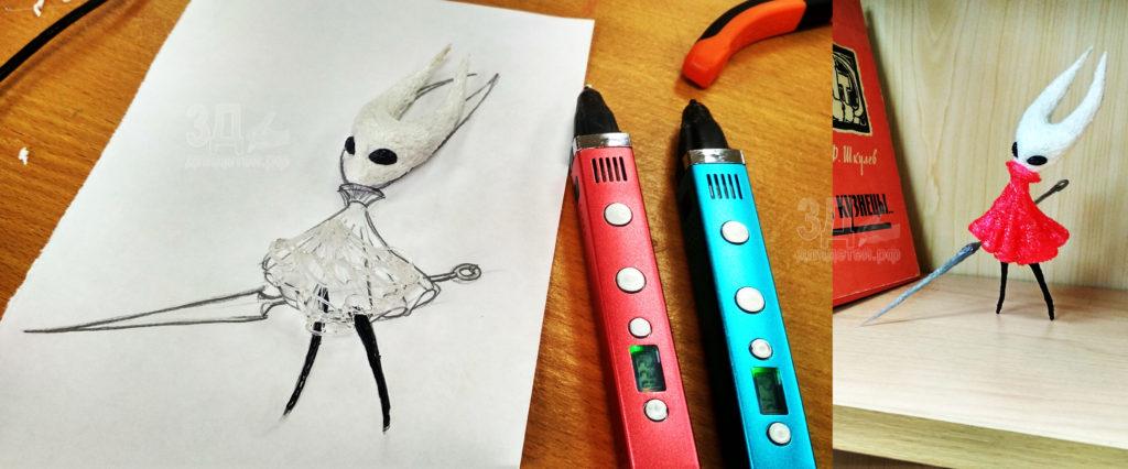 Поделки 3D ручкой. Hornet - героиня видеоигры Hollow Knight. Поделка созданная 3D ручкой.