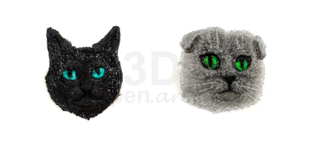 """Поделки 3D ручкой. Значки """"Кошка"""""""